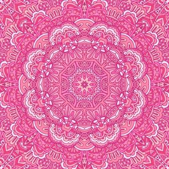 Ethnisches nahtloses design der stammes-indischen blume. festliche rosa mandala-muster-verzierung