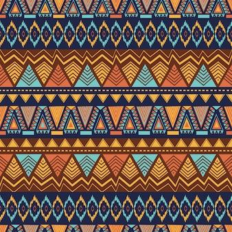 Ethnisches nahtloses muster mit hand gezeichneter geometrischer zusammenfassung