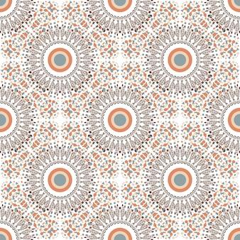 Ethnisches nahtloses muster mit kreisverzierung. stoff oder textilbeschaffenheit. vektor, der design wiederholt.