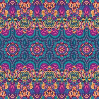 Ethnisches nahtloses muster stammes- hintergrund aztekischer und indischer artweinlesedruck