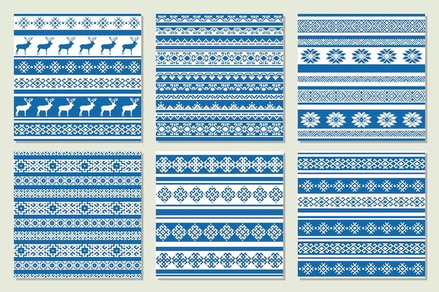 Ethnisches nordisches muster mit rotwild in den blauen und weißen farben. vektor-illustration