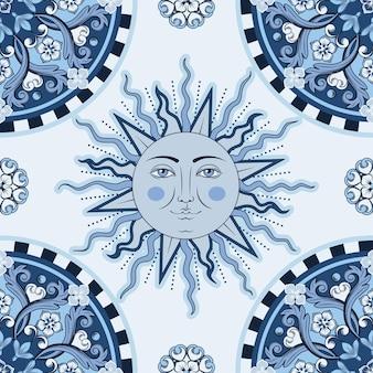 Ethnisches rundes ziermandala, sonne mit menschlichem gesicht auf schachbrettmuster. trendiger stil.