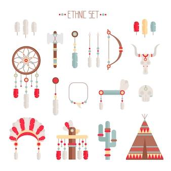 Ethnisches stammes-set im einheimischen stil