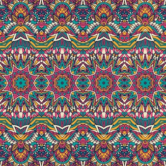 Ethnisches stammesblumenpsychedelisches buntes nahtloses muster