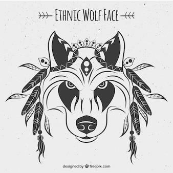 Ethnisches wolfsgesicht