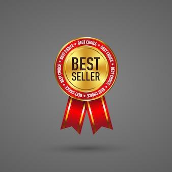 Etikett bestseller gold und rote farbe