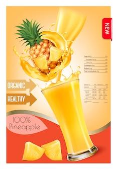 Etikett des ananassaftspritzens in einem glas. entwurfsvorlage. .