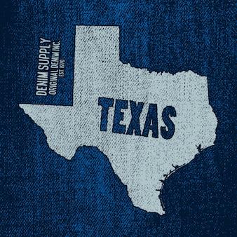 Etikett mit karte von texas