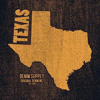 Etikett mit karte von texas.