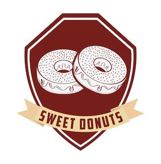 Etikett mit süßen donuts