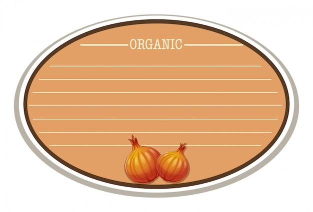Etikett mit textfreiraum und zwiebeln