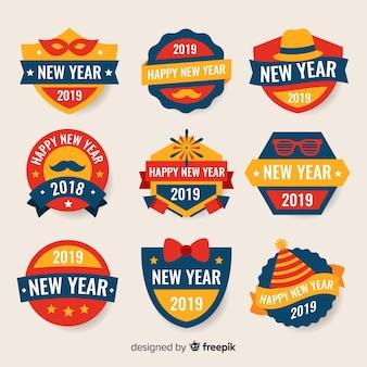 Etikett-set des neuen jahres 2019