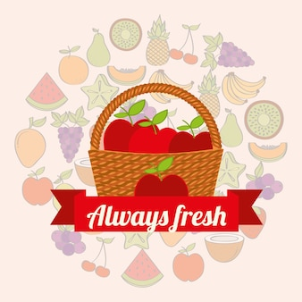 Etikett weidenkorb mit immer frischen äpfeln
