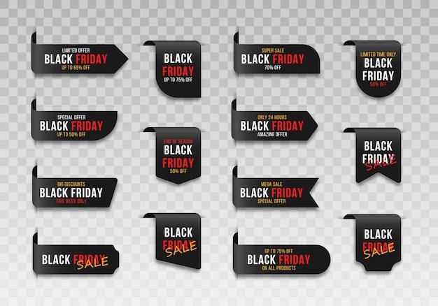 Etiketten abzeichen für black friday market sale tags shopping verkaufsschild label.