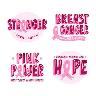 Etiketten für den monat des bewusstseins für brustkrebs