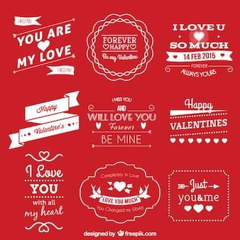 Etiketten für den valentinstag