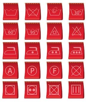 Etiketten für kleidung mit der führung der wäsche.