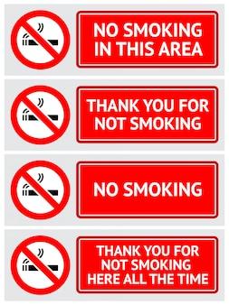 Etiketten gesetzt rauchverbot aufkleber