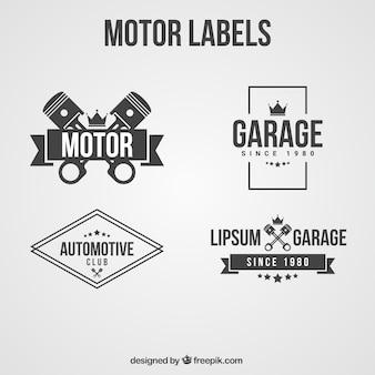 Etiketten in schwarz und weiß für motorradclub