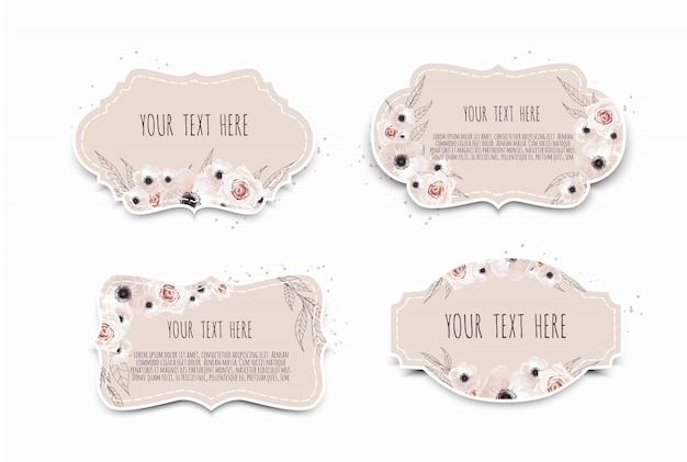 Etiketten mit blumen gesetzt. feldrand mit exemplarplatz