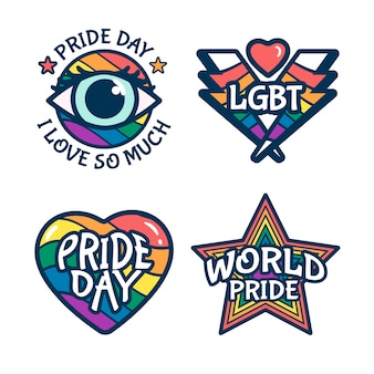 Etiketten mit pride day event feier