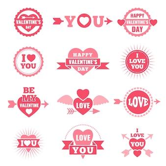 Etiketten und abzeichen zum valentinstag. liebessymbole