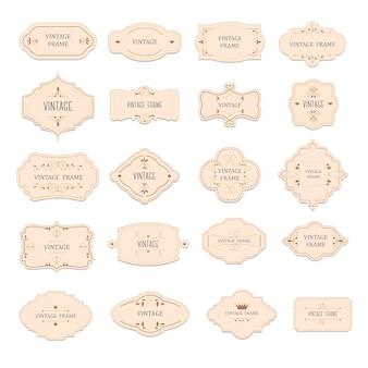 Etiketten und embleme, isolierte vintage- oder retro-abzeichen oder tags mit aufschrift