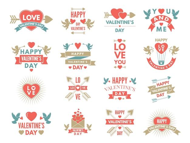 Etiketten und symbole der liebe. st.-valentinstagbilder für einklebebuchdesign