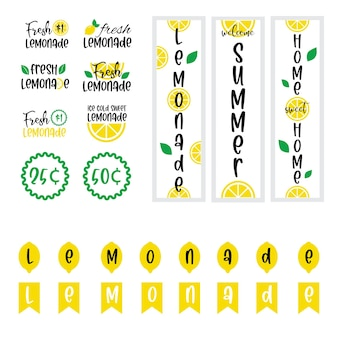 Etiketten und zeichen von frischer limonade mit zitrone. vektorgrafiken für grafik- und webdesign, für stand, restaurant und bar, speisekarte.