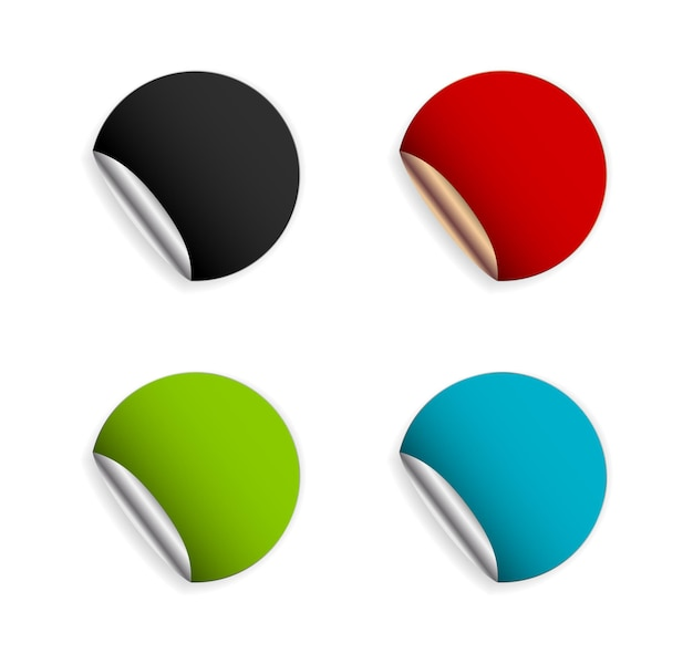 Etikettenaufkleber-symbolschablone mit gekräuselter lockenecke