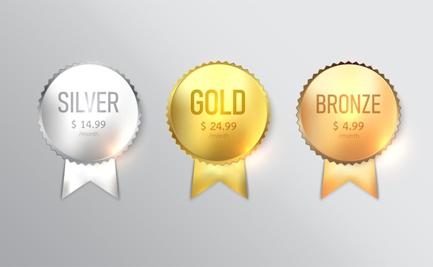 Etikettendesign, abzeichenset mit gold
