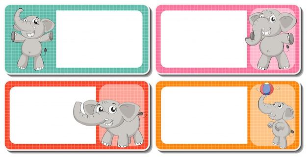 Etikettenentwurf mit grauen elefanten