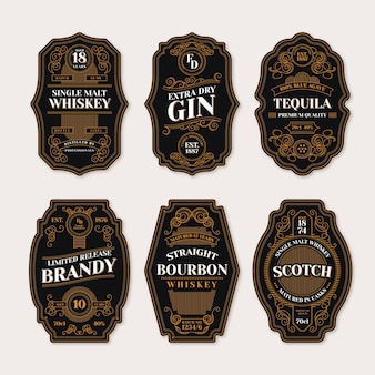 Etikettenkollektion im vintage-stil