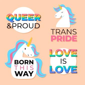 Etikettenkollektion mit pride day design