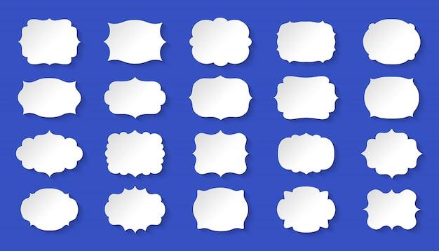 Etikettenrahmen weißes papierset. königlicher hochzeitsaufkleberanhänger mit schatten. dekorative vintage leere rahmenkollektion. silhouette, verschiedene formschablonenfahne. isolierte illustration
