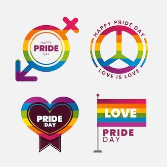Etikettensammlung mit pride day-thema