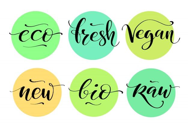 Etikettenset für gesunde lebensmittel. produktetiketten oder aufkleber.