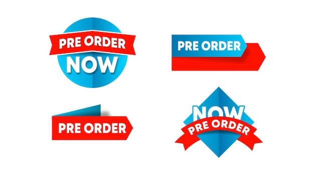 Etikettenvorlage lager vektor vorbestellen. vorbestellungsetikett für webbanner und online-flyer der großen verkaufsveranstaltung Premium Vektoren