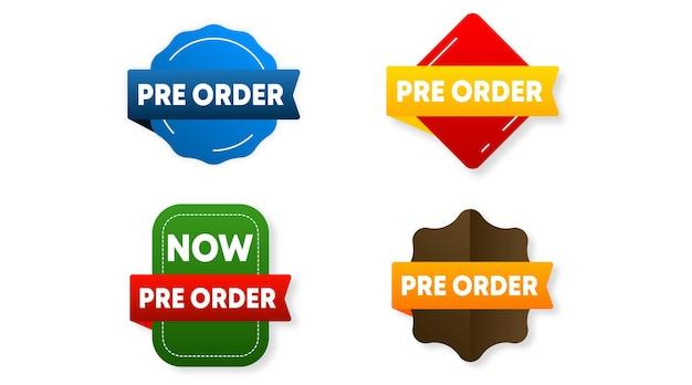 Etikettenvorlage lager vektor vorbestellen. vorbestellungsetikett für webbanner und online-flyer der großen verkaufsveranstaltung