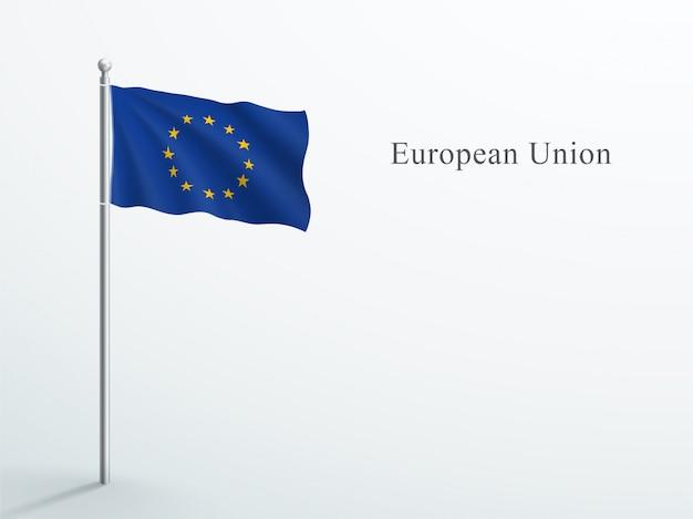 Eu-flagge 3d element, das auf stahlfahnenmast winkt