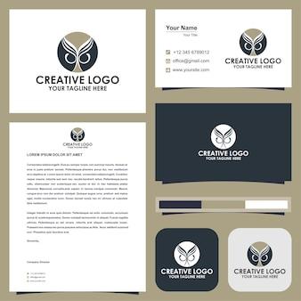 Eule abstraktes logo premium und visitenkarte