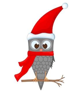 Eule auf dem ast in der weihnachtsmannmütze und im schal. postkarte für das neue jahr und weihnachten. isolierte objekte vogel auf weißem hintergrund. vorlage für text und glückwünsche.