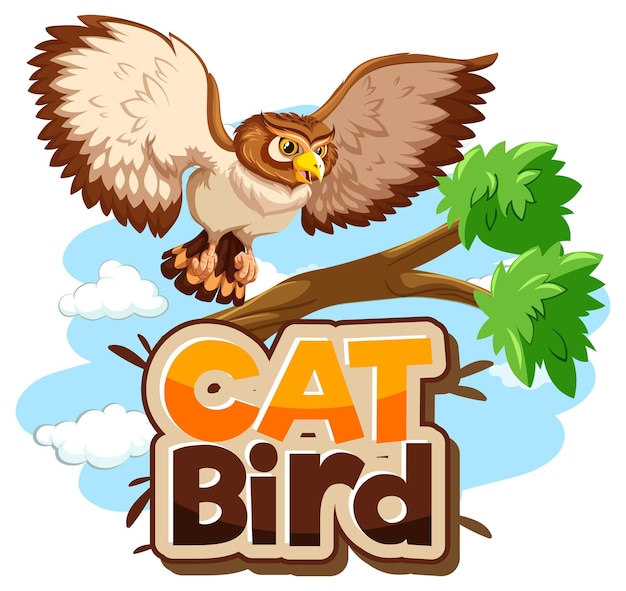 Eule auf zweig-cartoon-figur mit cat bird-schriftart-banner isoliert