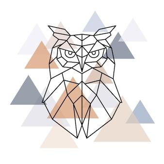 Eule geometrischer kopf im skandinavischen stil