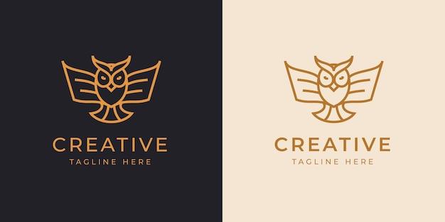 Eule linie logo design-vorlage. vektorillustration einer eule mit flügeln, die einem papierbuch ähnelt resemble
