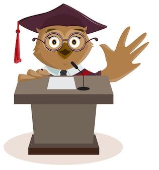 Eule-professor sagte vom podium. isoliert auf weißem vektor-cartoon-illustration