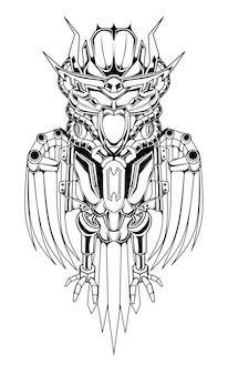 Eule roboter illustrationsskizze