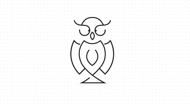 Eule-symbol im umriss-stil, schwarzer hintergrund