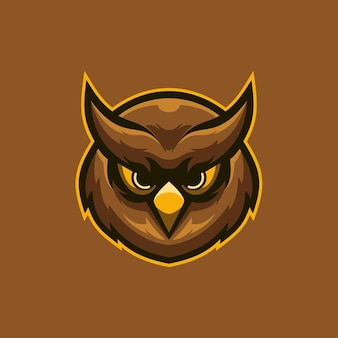 Eule tierkopf cartoon logo vorlage illustration. esport logo spiel premium-vektor