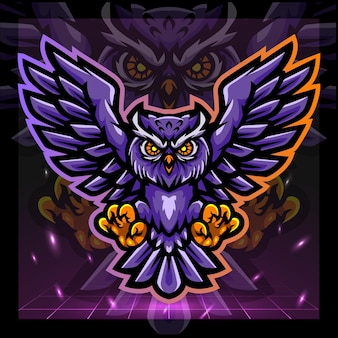 Eule vogel maskottchensport logo-design